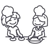 Children cooking vector line icon, sign, illustration on background, editable strokes Stock Images