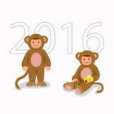Children in costume monkeys. Isolated characters boy and girl in themed costumes  Stock Photos