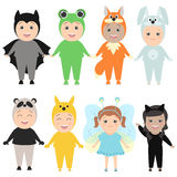 Children in costumes of animals. Carnival costumes, hare, fox, b vector illustration