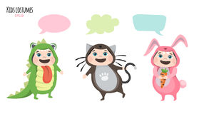 Children in costumes communicate Stock Photography
