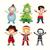 Children in costumes isolated on white background Stock Photography