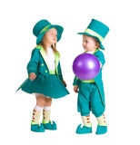 Children in costumes leprechaun, St. Patrick's Day. Isolated on white background Royalty Free Stock Photo