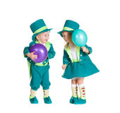 Children in costumes leprechaun, St. Patrick's Day. Isolated on white background Stock Photo