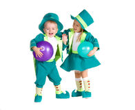 Children in costumes leprechaun, St. Patrick's Day. Isolated on white background Stock Photography