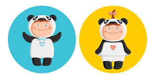 Children in costumes pandas stock illustration