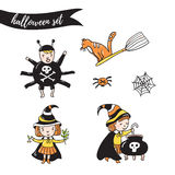 Children in costumes. witches, spider and cat  isolated on the white background. Royalty Free Stock Images