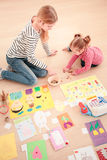 Children counting money. Earned during school fair Royalty Free Stock Image