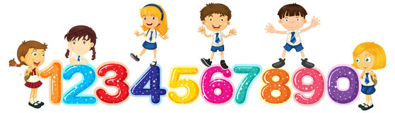 Children counting numbers one to zero. Illustration royalty free illustration