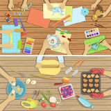 Children Craft And Cooking Class Two Illustrations With Only Hands Visible From Above The Tabl. E. Kids Art Lesson Working In Teams Colorful Cartoon Cute Vector Stock Photos