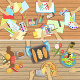 Children Craft And Cooking Lesson Two Illustrations With Only Hands Visible From Above The Table Royalty Free Stock Photography