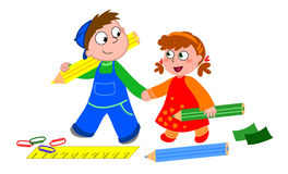 Children with crayons vector illustration
