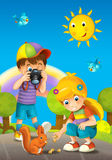 Children - creative in the park - illustration Stock Image