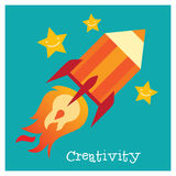 Children creativity development. Modern flat illustration set. Design element royalty free illustration