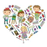 Children creativity Kindergarten, school art Boys and girls drawing and painting pictures Children art and design school. Children creativity Kindergarten royalty free illustration