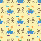 Children creativity seamless pattern vector creative kids drawing childish art-craft backdrop illustration of child s. Painting in kindergarten isolated on Royalty Free Stock Image