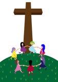 Children with cross. Happy little children at the Cross stock illustration