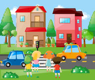 Children crossing road in neighborhood. Illustration Royalty Free Stock Photography