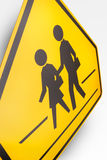 Children Crossing Road Sign. On white background Stock Photos