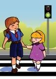 Children crossing street. Two children use a cross walk to cross the street royalty free illustration