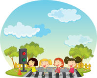 Children crossing the street Stock Photo