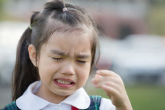 Children crying first day go to pre kindergarten school. Stock Photos
