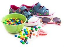 Children cukierki i materiał obrazy stock