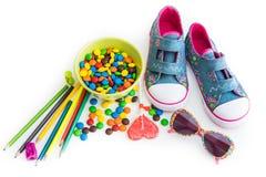 Children cukierki i materiał Fotografia Royalty Free
