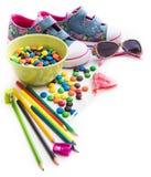 Children cukierki i materiał Fotografia Stock