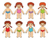Children in custom. Illustration realized with photoshop. So many children in custom for the sea Stock Photo