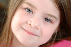 Children-Cute Girl Close Up. Close up, cropped tight, cute girl Stock Photography