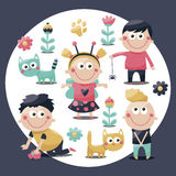 Children cute set cats, kids, toys, flowers, plants, babies Royalty Free Stock Photo