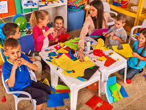 Free Children Cutting Paper In Class. Development Social Lerning In School. Royalty Free Stock Photos - 86196728