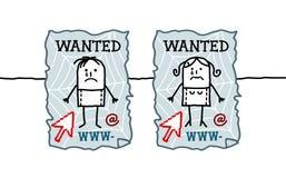 Children & cyberbullying. Hand drawn cartoon characters - children & cyberbullying Royalty Free Stock Photos