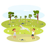 Children with Dalmatian royalty free illustration