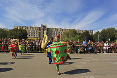 Children dance. Slavyansk, Ukraine - September 4, 2010. Celebration of the city. Children dance during the carnival parade in the central square Royalty Free Stock Images