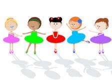 Children Dance. Five little ballerinas dance, illustration Stock Images