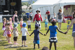 Children dance. Dan coboy dance with group of children during woodstock family event the 5-6 july at ste-julie, quebec, canada Stock Photography