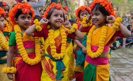 Children dance performers enjoying at spring festival Stock Photos