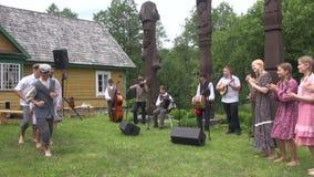 Children dance polka stock video footage