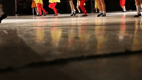 Children dancers legs. Dance group. stock video footage