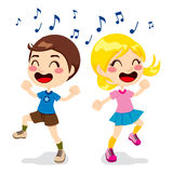 Children Dancing. Two children a boy and a girl dancing full of happiness Royalty Free Stock Photos