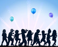 Children dancing with balloons Royalty Free Stock Photo