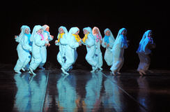 Children dancing in bunny costumes Royalty Free Stock Image