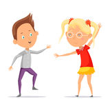 Children dancing or cartoon boy with girl moving Royalty Free Stock Images