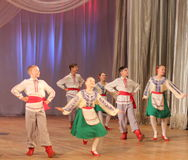 Children dancing. Choreographic dance show in traditional costumes contestant Ukrainian festival Golden Grain on the stage of the Kyiv Palace of children and Stock Images