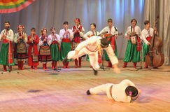 Children dancing. Choreographic dance show in traditional costumes contestant Ukrainian festival Golden Grain on the stage of the Kyiv Palace of children and Royalty Free Stock Photo