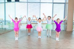 Children dancing in choreography class. happy children dancing on in hall, healthy life, kid`s togethern dance kid class. Children dancing in choreography class Stock Photo