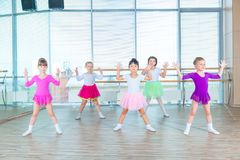 Children dancing in choreography class. happy children dancing on in hall, healthy life, kid`s togethern dance kid class. Children dancing in choreography class Royalty Free Stock Photos