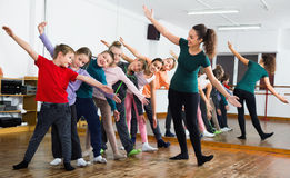 Children dancing contemp in studio smiling and having fun Royalty Free Stock Photography