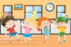 Children dancing in the house. Illustration vector illustration